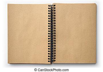 antigas, isolado, livro, em branco, branca, abertos, páginas
