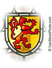 antigas, janela, emblema, leão