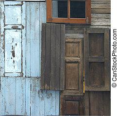 antigas, janela, porta, fundo