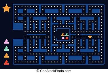 antigas, jogo, quadrado, vídeo