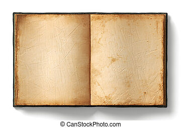 antigas, livro, abertos, páginas, vazio