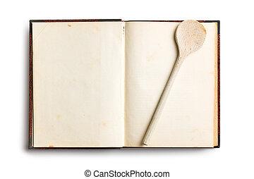 antigas, livro, receita, em branco