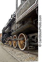 antigas, locomotiva, rodas, fim, cima., vapor, train.
