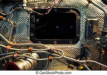 antigas, máquina, com, eletrônico, partes