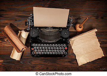 antigas, máquina escrever, ligado, tabela madeira
