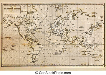 antigas, mão, desenhado, vindima, mapa mundial
