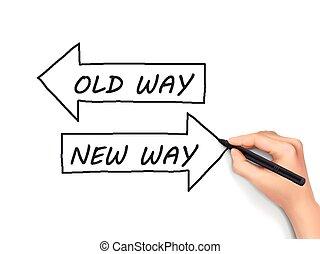 antigas, mão escrita, maneira, novo, ou
