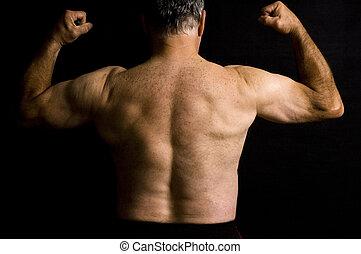 antigas, músculos, flexionar, homem