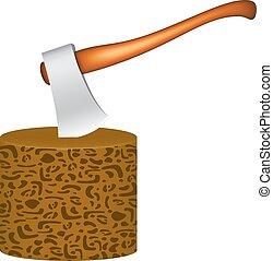 antigas, machado, aderido, em, bloco madeira