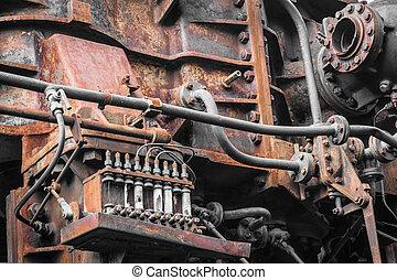 antigas, machine., metal enferrujado, maquinaria, detail.