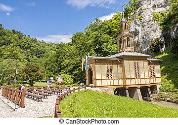 antigas, madeira, capela, em, ojcow, -, poland.