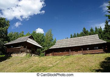 antigas, madeira, casas, de, carpathian, montanhas, ucrânia