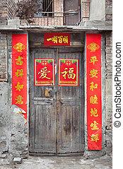 antigas, madeira, chinês, porta, com, desfolha, fortuna, cartazes