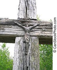 antigas, madeira, crucifixos