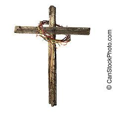 antigas, madeira, crucifixos, com, sangrento, coroa espinhos
