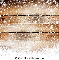 antigas, madeira, fundo, com, neve, para, desenho