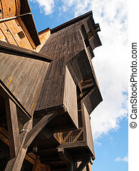 antigas, madeira, guindaste, em, gdansk