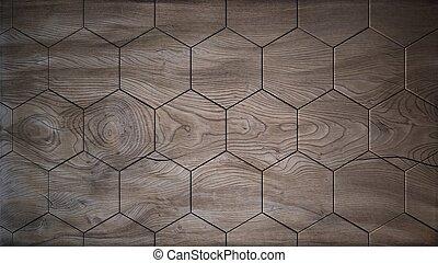 antigas, madeira, hexágonos, fundo, 3d, render