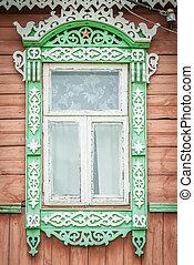 antigas, madeira, house., tradicional, janela, russo