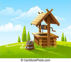 antigas, madeira, poço, balde, água, paisagem