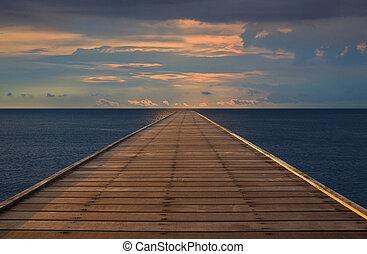 antigas, madeira, ponte, para, a, mar, com, clo