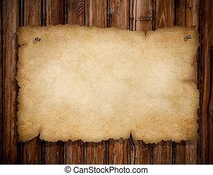 antigas, madeira, pregos, rasgado, fixado, parede, papel, ...