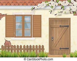 antigas, madeira, primavera, janela, fachada, porta