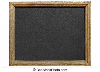 antigas, madeira, quadro-negro, quadro, isolado, experiência., branca