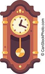 antigas, madeira, relógio avô, apartamento, icon., antigüidade, mobília, illustration.