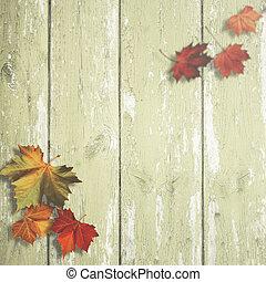 antigas, madeira, sobre, fundos, outonal, escrivaninha, folhas, abstratos, maple