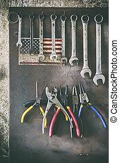 antigas, madeira, vindima, penduradas, garage., área de transferência, tempo, passatempo, ferramentas