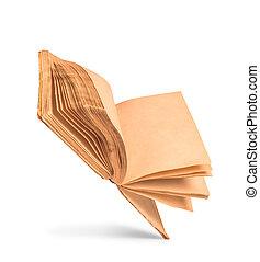 antigas, manchado, isolado, amarela, livro, fundo, em branco, páginas brancas