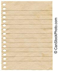 antigas, manchado, isolado, experiência., notepaper, sujo, em branco, página branca
