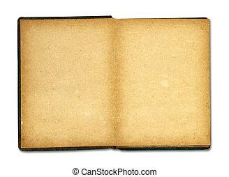 antigas, manchado, isolado, livro, fundo, em branco, páginas brancas