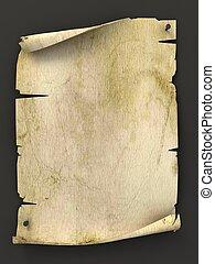 antigas, manuscrito, fundo, em branco