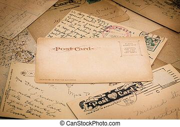 antigas, manuscrito, postais
