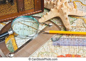 antigas, mapa, e, um, volta, com, um, transferidor