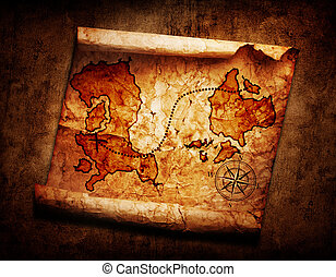 antigas, mapa tesouro, ligado, grunge, fundo
