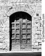 antigas, marrom, porta madeira, em, medieval, rua