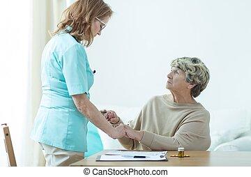 antigas,  medic, paciente, dela, visitando
