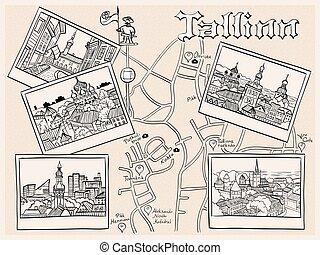 antigas, medieval, estónia, tallinn, vetorial, cidade