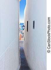 antigas, mediterrâneo, altea, rua, vila, branca, estreito,...