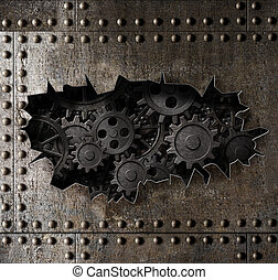 antigas, metal, armadura, fundo, com, enferrujado, engrenagens, e, cogs, 3d, ilustração