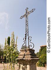 antigas, metal, crucifixos, em, frança