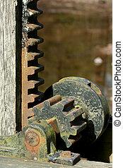 antigas, metal enferrujado, engrenagens