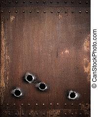 antigas, metal, fundo, com, buracos bala