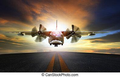 antigas, militar, avião, aproximar-se, para, aterragem, ligado, aeroporto, pista decolagem