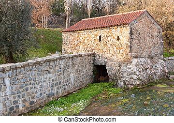 antigas, moinho, reconstruído, acionou, por, água, em,...