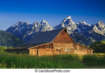 antigas, mormon, celeiro, em, a, tetons