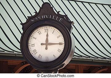 antigas, nashville, rua, relógio